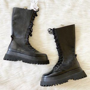 NEW Zara Leather Platform Track Lace Up Tall Boots